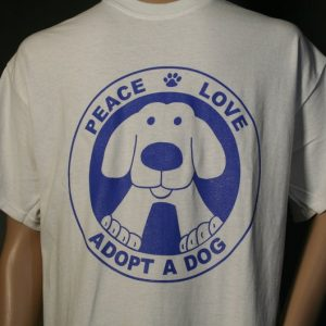 Peace Love Adopt a Dog T-shirt - by Binky and Bell