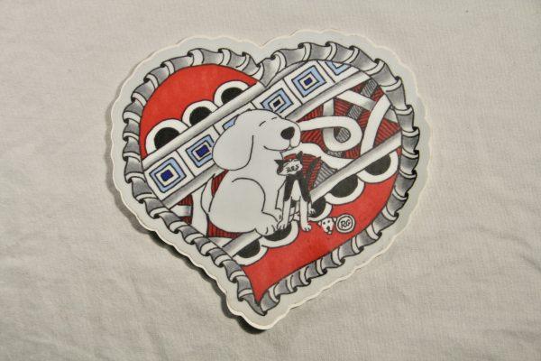 Cat and Dog Love Sticker