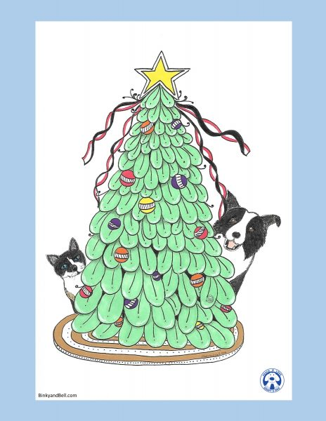 Christmas Tree with Cat and Collie