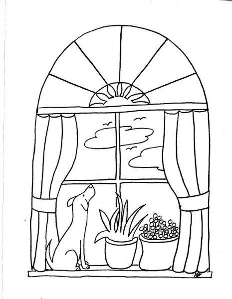 BinkyandBell.com - Window Sill Dog Coloring Page