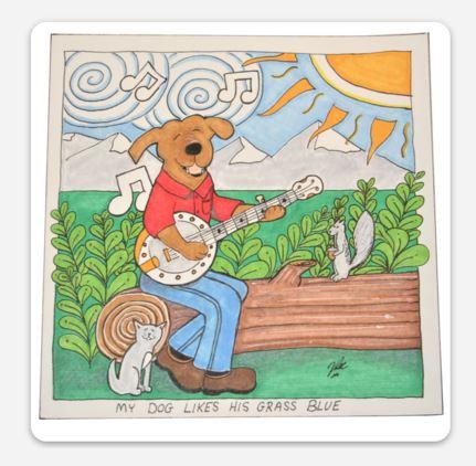 Blue Grass Dog Sticker