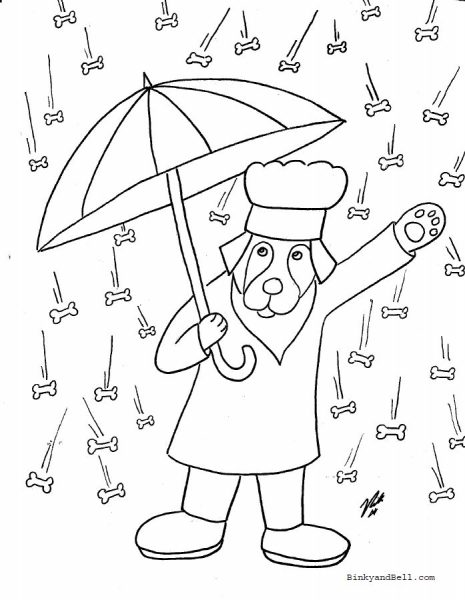 Raining Biscuits Coloring Page