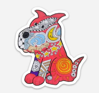 Red Zentangle Dog Sticker