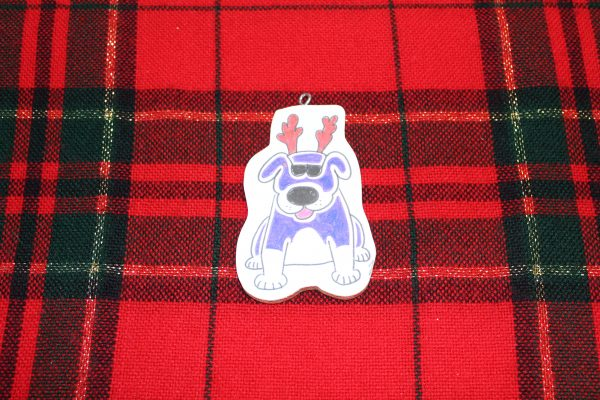 Purple Kacy Dog Christmas Ornament