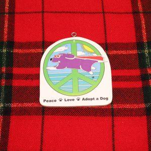 Super Peace Dog Christmas Ornament
