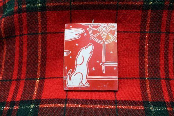 Christmas Star Block Print Dog Ornament