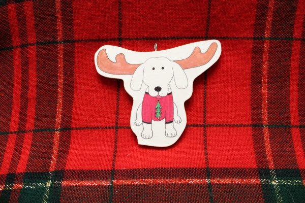 Merry Kris-Moose Dog Christmas Ornament