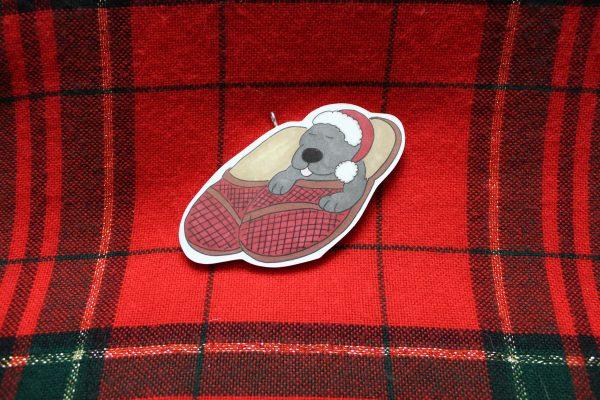 Slipper Pup Christmas Ornament