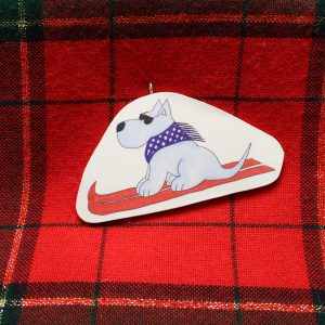 Tomba Skiing Dog Christmas Ornament