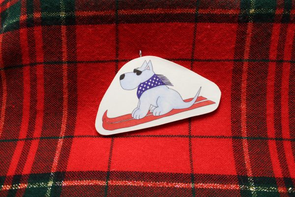 Tomba Skiing Dog Christmas Ornament
