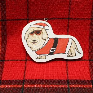 Ms London the Long Haired Dachshund Christmas Ornament