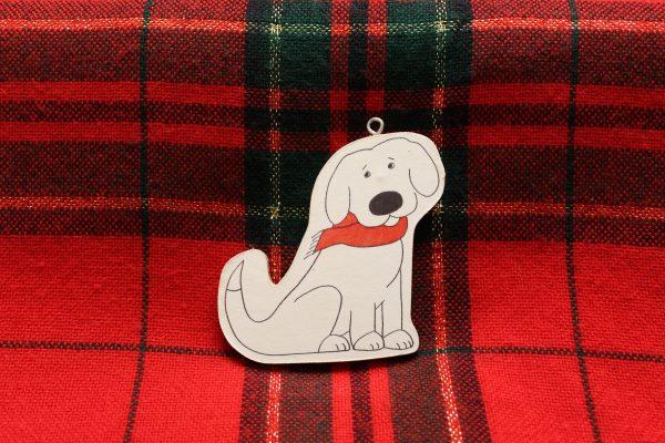 Skyler the White Dog Christmas Ornament
