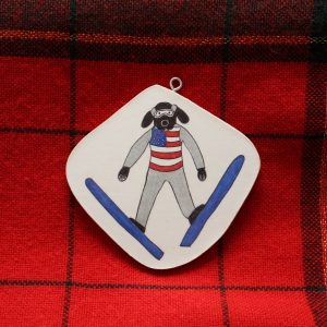 Eddie Eagle Ski Jumping Dog Christmas Ornament
