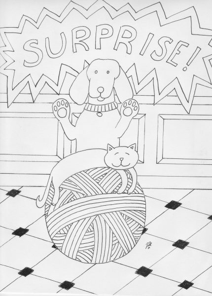 Suprise Dog Coloring Page
