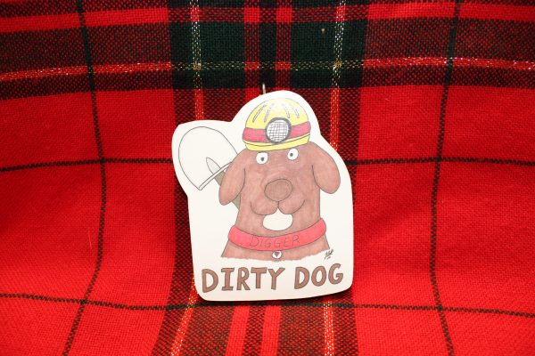 """""""Digger"""" the Dirty Dog Christmas Ornament"""