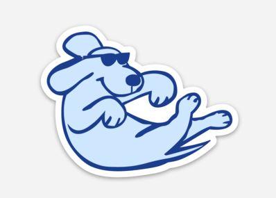 Floating Dog Sticker