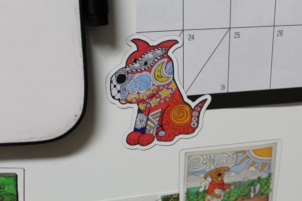 Red Zentangle Dog Magnet