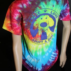 Rainbow Tye-Die Peace Love Adopt A Dog T-Shirt