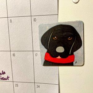 Ziggy the Black Lab Dog Art Magnet