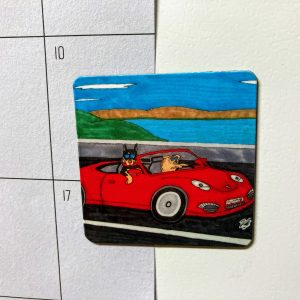 Porsche Dogs Dog Art Magnet