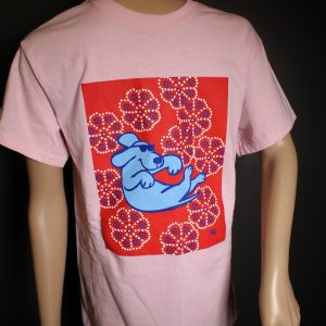 Floating Dog on Pink Cotton T-Shirt