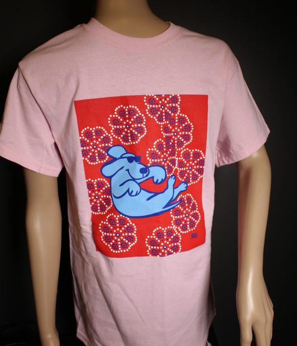Floating Dog on Pink Cotton T-Shirt