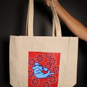 Floating Dog Cotton Tote Bag