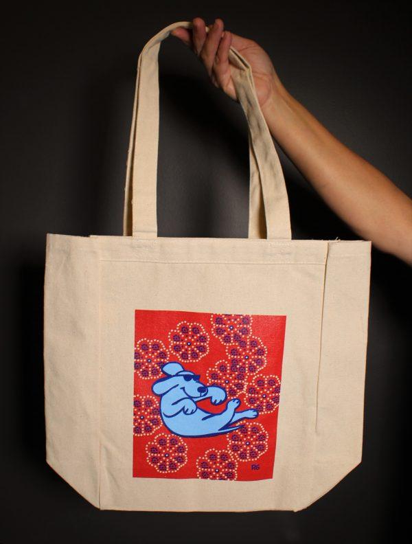 Floating Dog Cotton Tote Bag