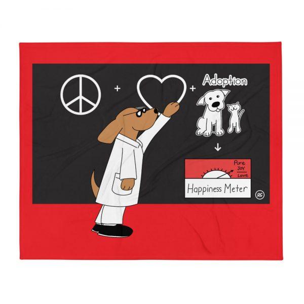 Happiness Meter Dog Art Throw Blanket