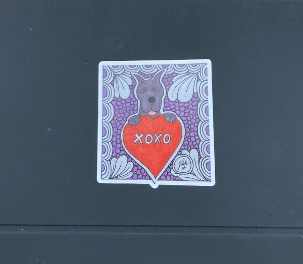 XOXO Great Dane Valentine Sticker