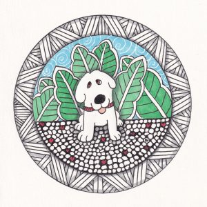 Doodle Dog Hearts Valentine Drawing