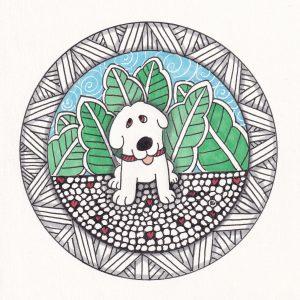 Doodle Dog Hearts Valentine Drawing