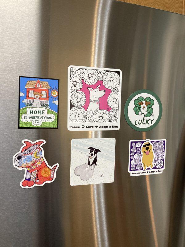 Binky and Bell Dog Art Magnets Bundle