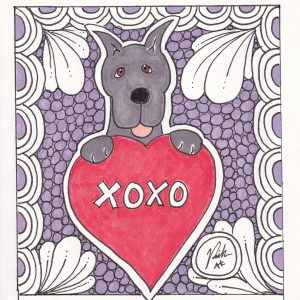 XOXO Great Dane Dog Art Valentine