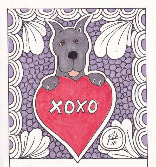 XOXO Great Dane Dog Art Valentine