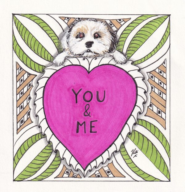 You and Me Dog Art Valentine